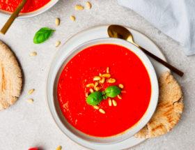 Geroosterde tomaat-paprika soep
