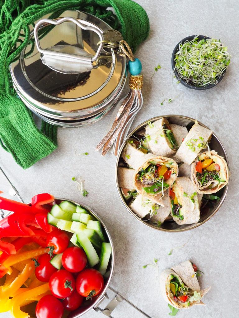 Wrap rolletjes met gegrilde groenten