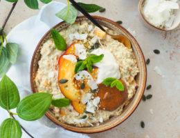 Perzik overnight oats